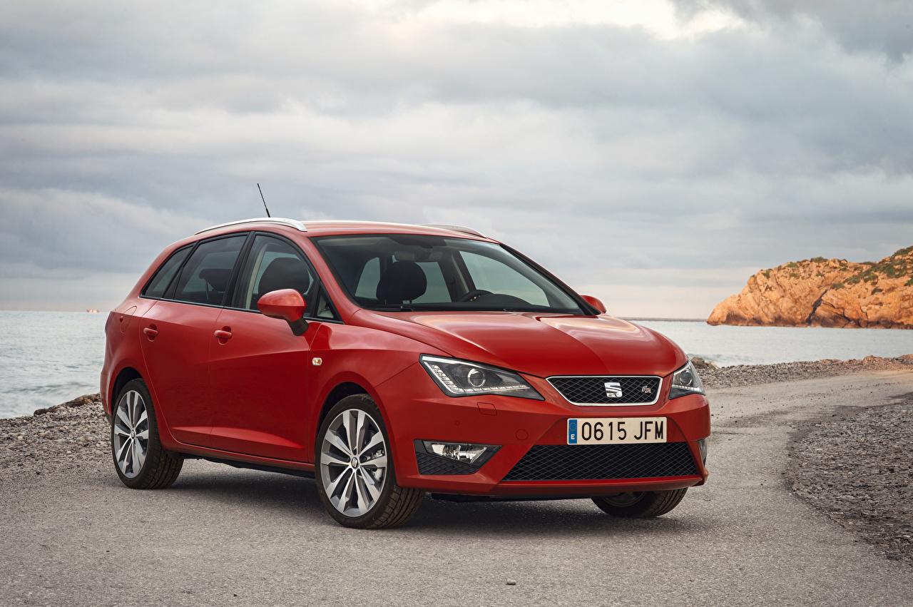 Картинка Seat 2015 Ibiza красных автомобиль Сиат Красный красные красная авто машина машины Автомобили