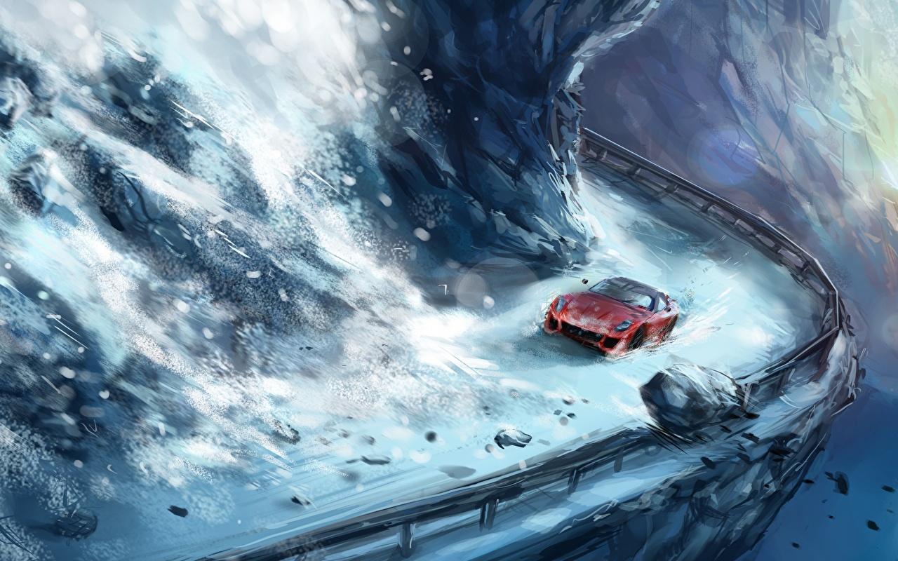 Картинки Фэнтези снегу Дороги Рисованные Фантастика Снег снега снеге