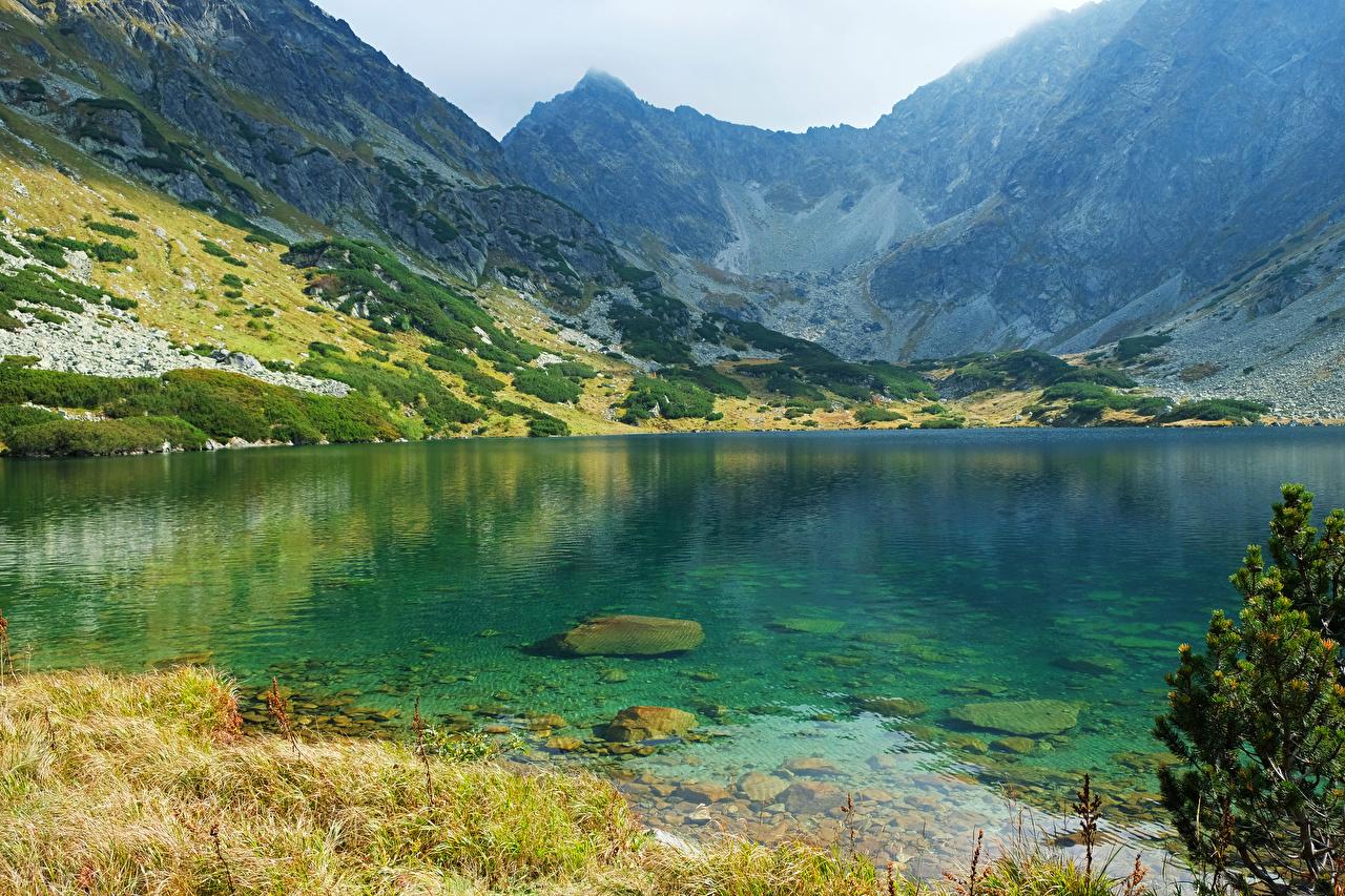 Обои для рабочего стола Словакия High Tatras Горы Природа Озеро гора