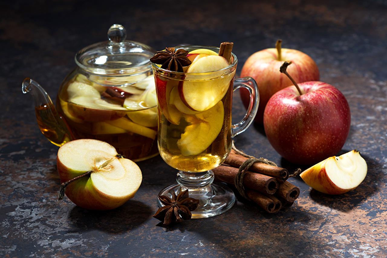Фотография Корица Яблоки Чайник кружке Продукты питания Напитки Еда Пища Кружка кружки напиток