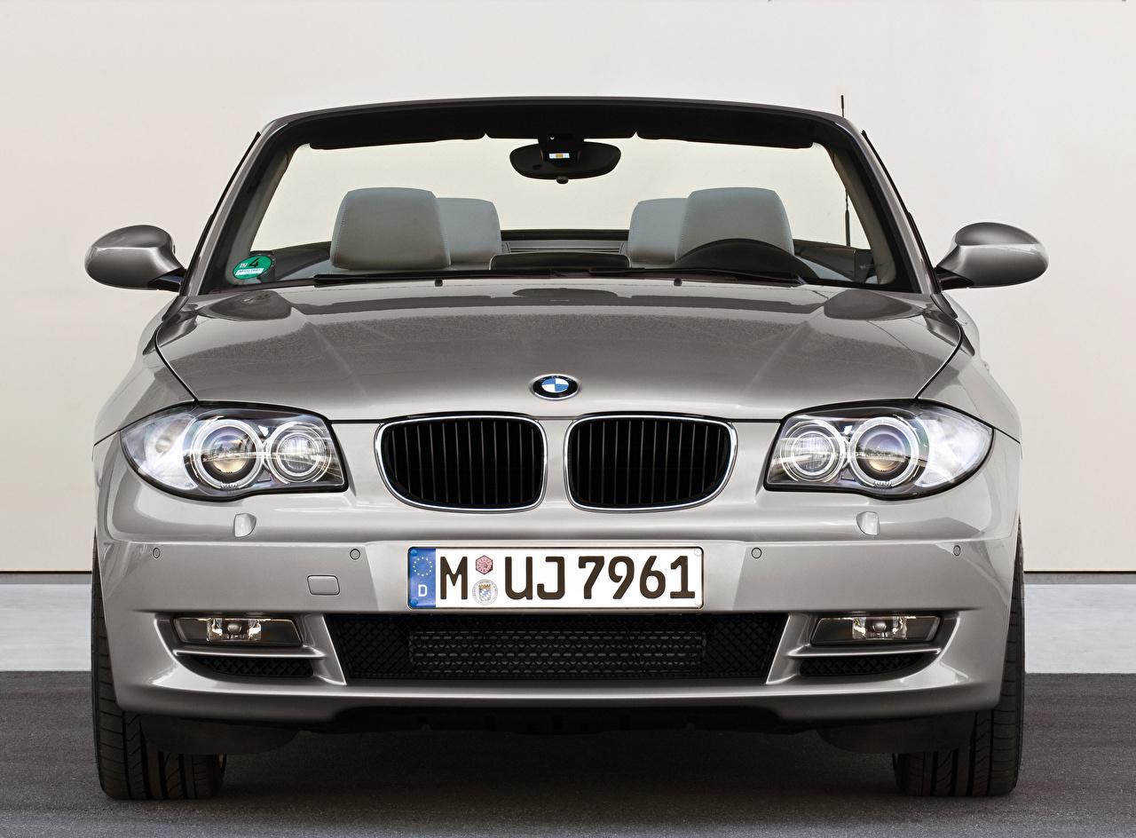 Обои для рабочего стола BMW 123d Cabrio Worldwide, E88, 2008–10 Кабриолет Серебристый машина Спереди Металлик БМВ кабриолета серебряный серебряная серебристая авто машины Автомобили автомобиль