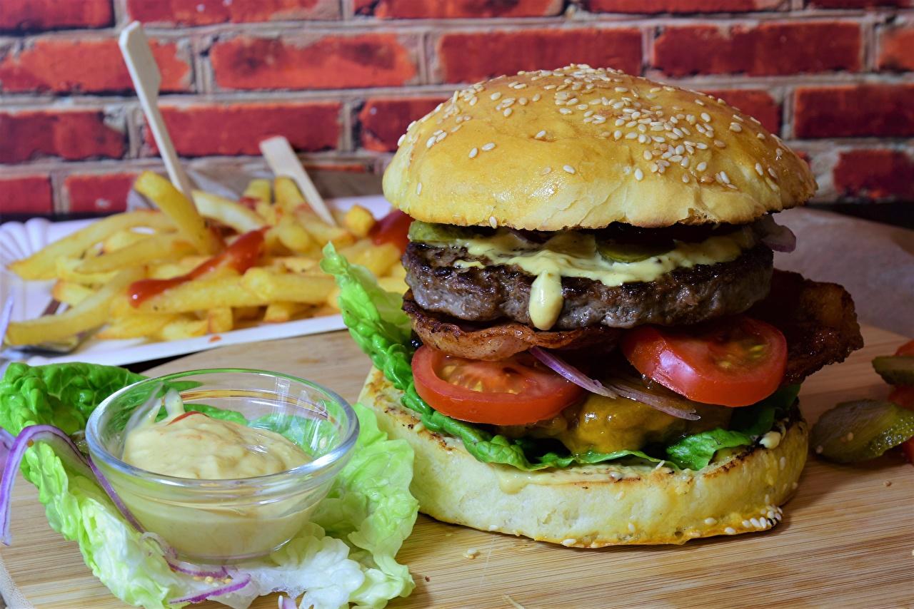 Фото Гамбургер Булочки Быстрое питание Еда Овощи Фастфуд Пища Продукты питания