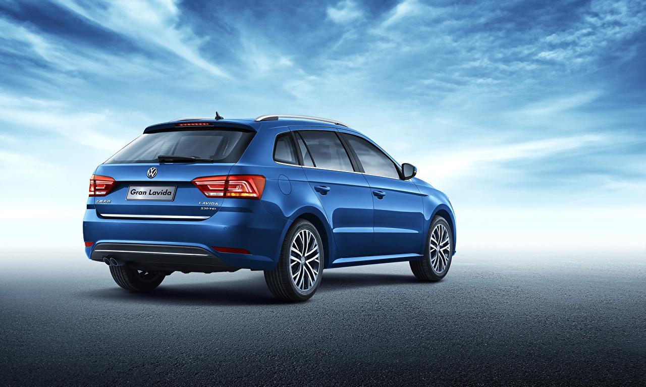 Картинка Фольксваген Универсал 2015 Lavida Синий вид сзади Автомобили Volkswagen синяя синие синих авто Сзади машины машина автомобиль
