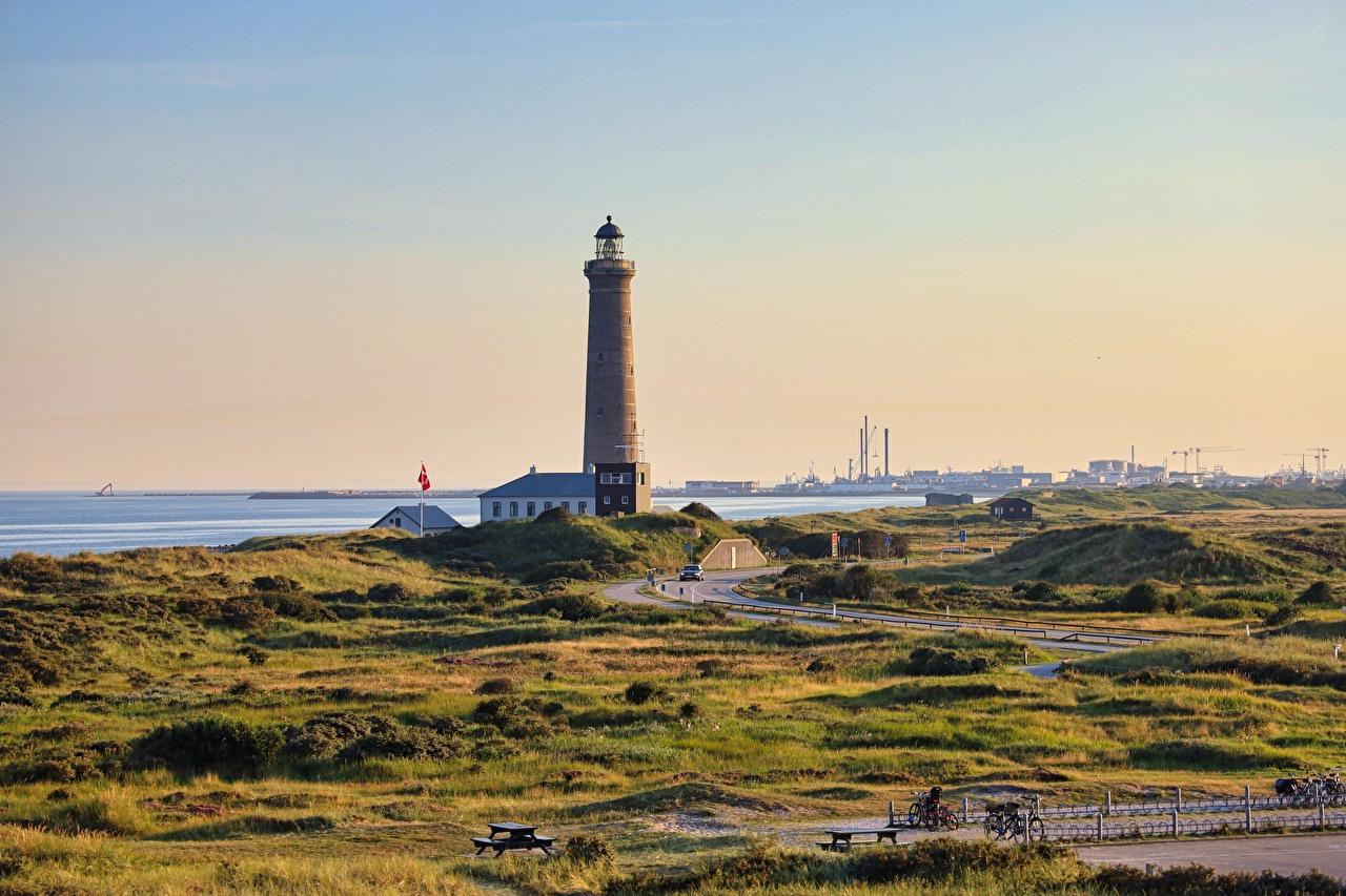 Картинка Дания Skagen, Cape Grenen маяк Города Маяки город