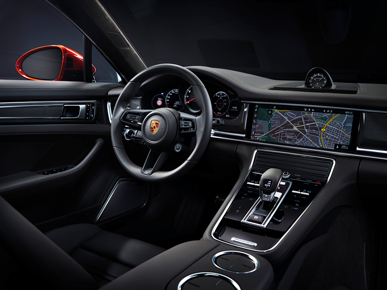 Обои для рабочего стола Порше Салоны Автомобильный руль Panamera Turbo S (971), 2020 авто Porsche Рулевое колесо машина машины Автомобили автомобиль