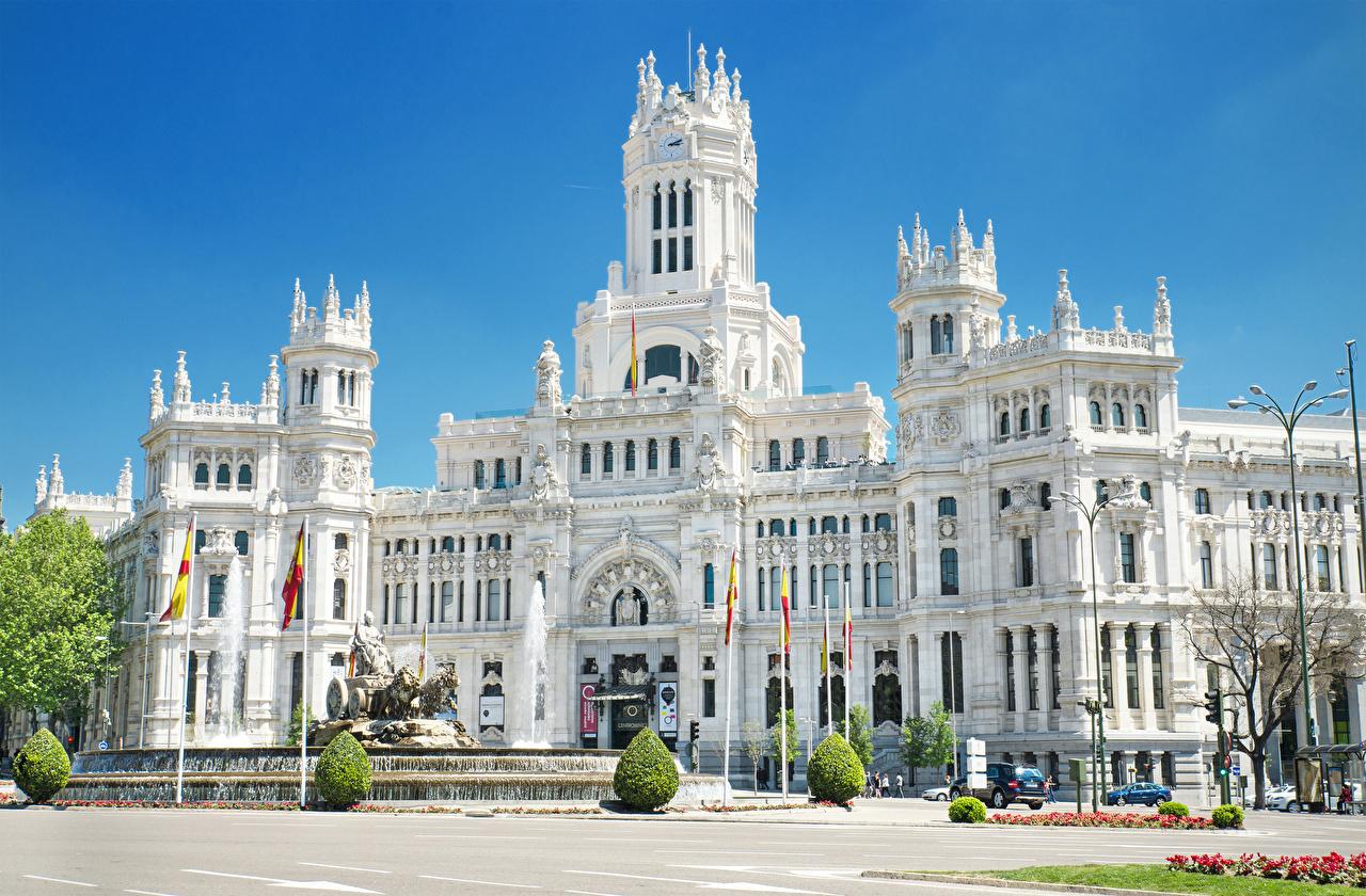 Фото Мадрид Дворец Испания Фонтаны Памятники Cybele Palace Уличные фонари город дворца Города
