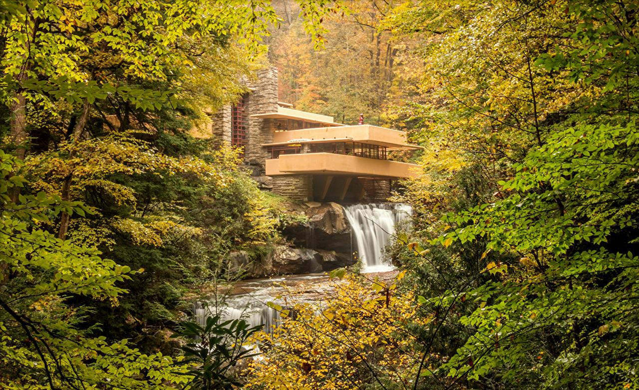 Картинка США Kaufmann House Pittsburgh Осень Природа Водопады Леса Здания штаты осенние Дома