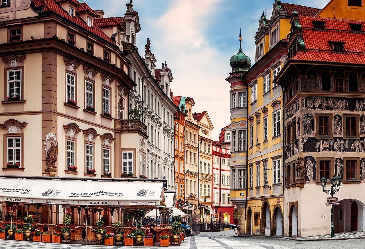 Фото Прага Чехия Кафе улиц город Здания Улица улице Дома Города