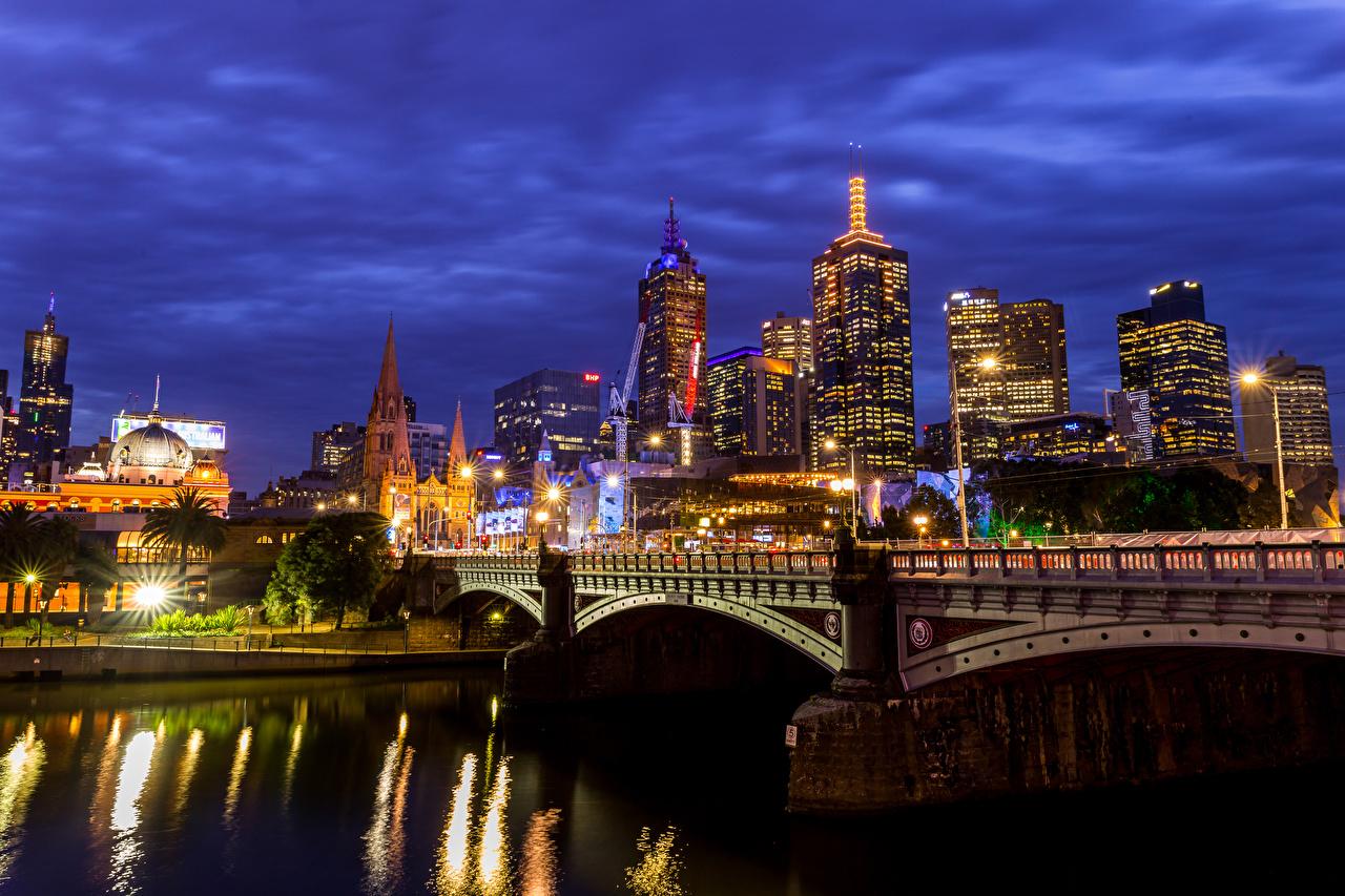 Фотографии Мельбурн Австралия Мосты Ночь речка Уличные фонари Дома город мост Реки река ночью в ночи Ночные Города Здания