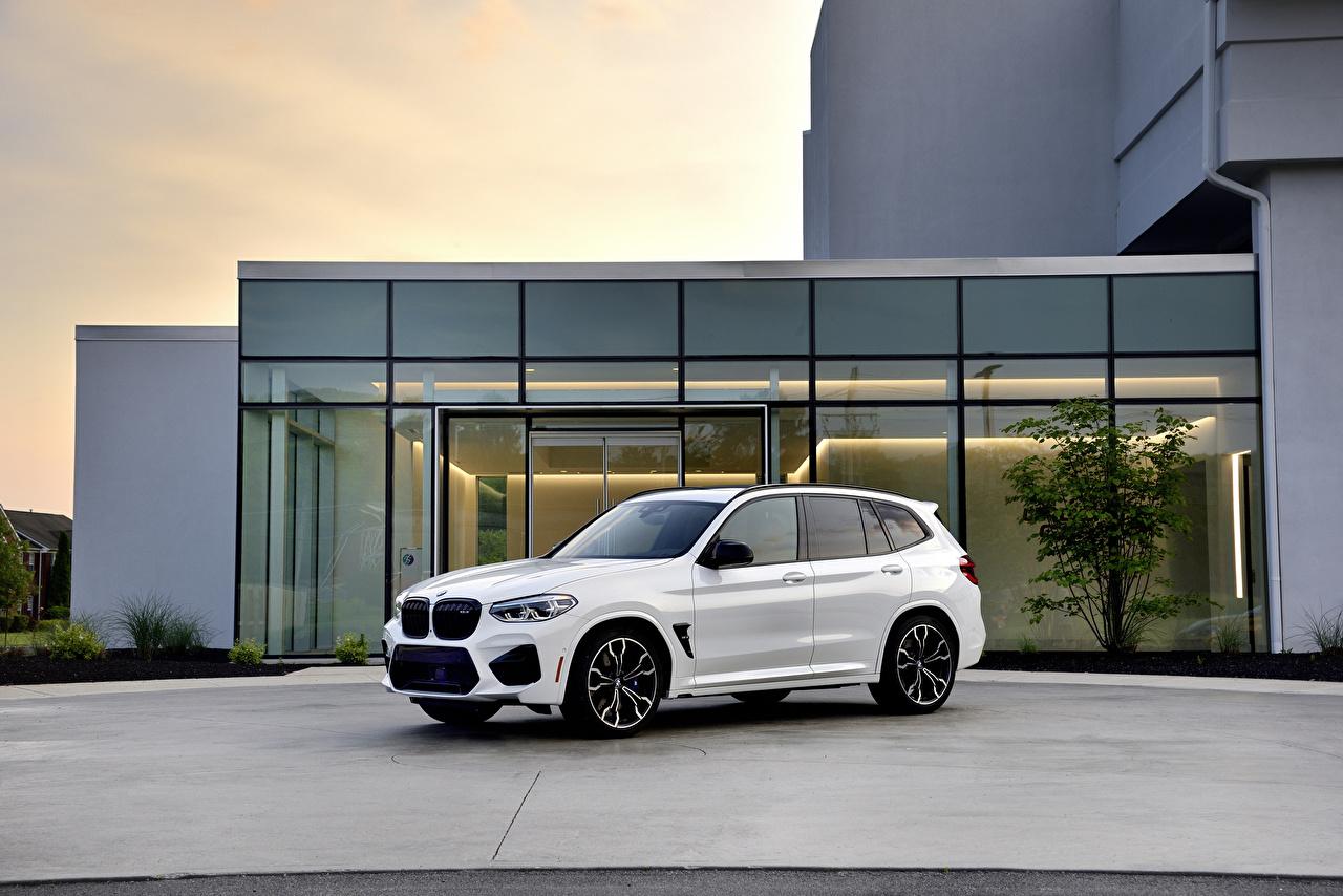 Картинка БМВ Кроссовер 2020 X3 M Competition Белый авто Металлик BMW CUV белых белые белая машина машины автомобиль Автомобили