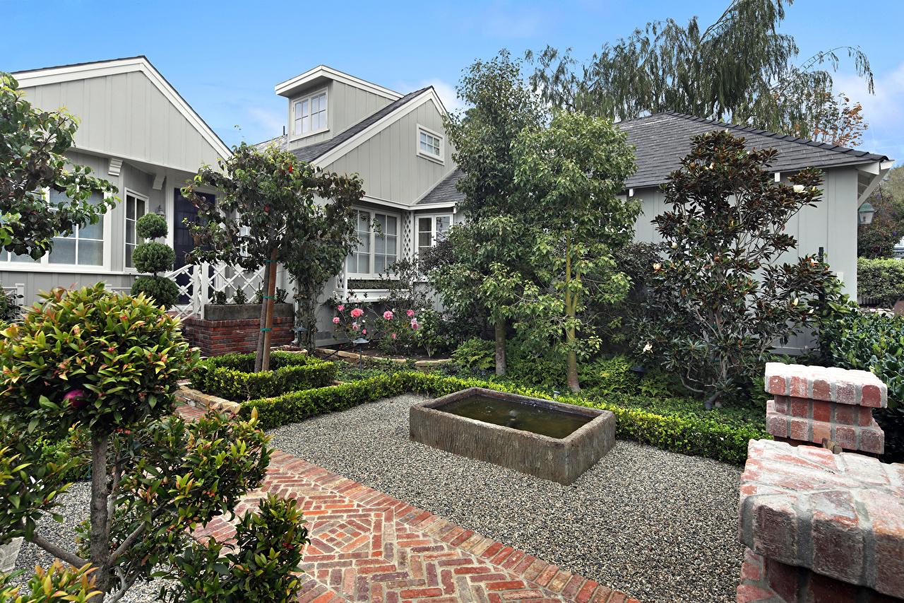 Обои для рабочего стола Калифорния штаты Laguna Beach Особняк Города Здания Деревья Ландшафтный дизайн калифорнии США америка Дома город дерева дерево деревьев