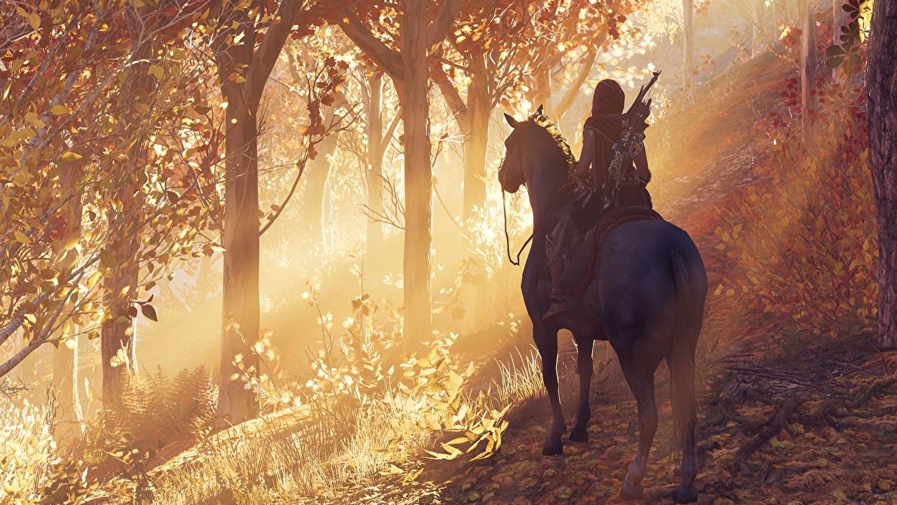 Фото Assassin's Creed Odyssey Лошади 3д Девушки компьютерная игра лошадь девушка 3D Графика молодая женщина молодые женщины Игры