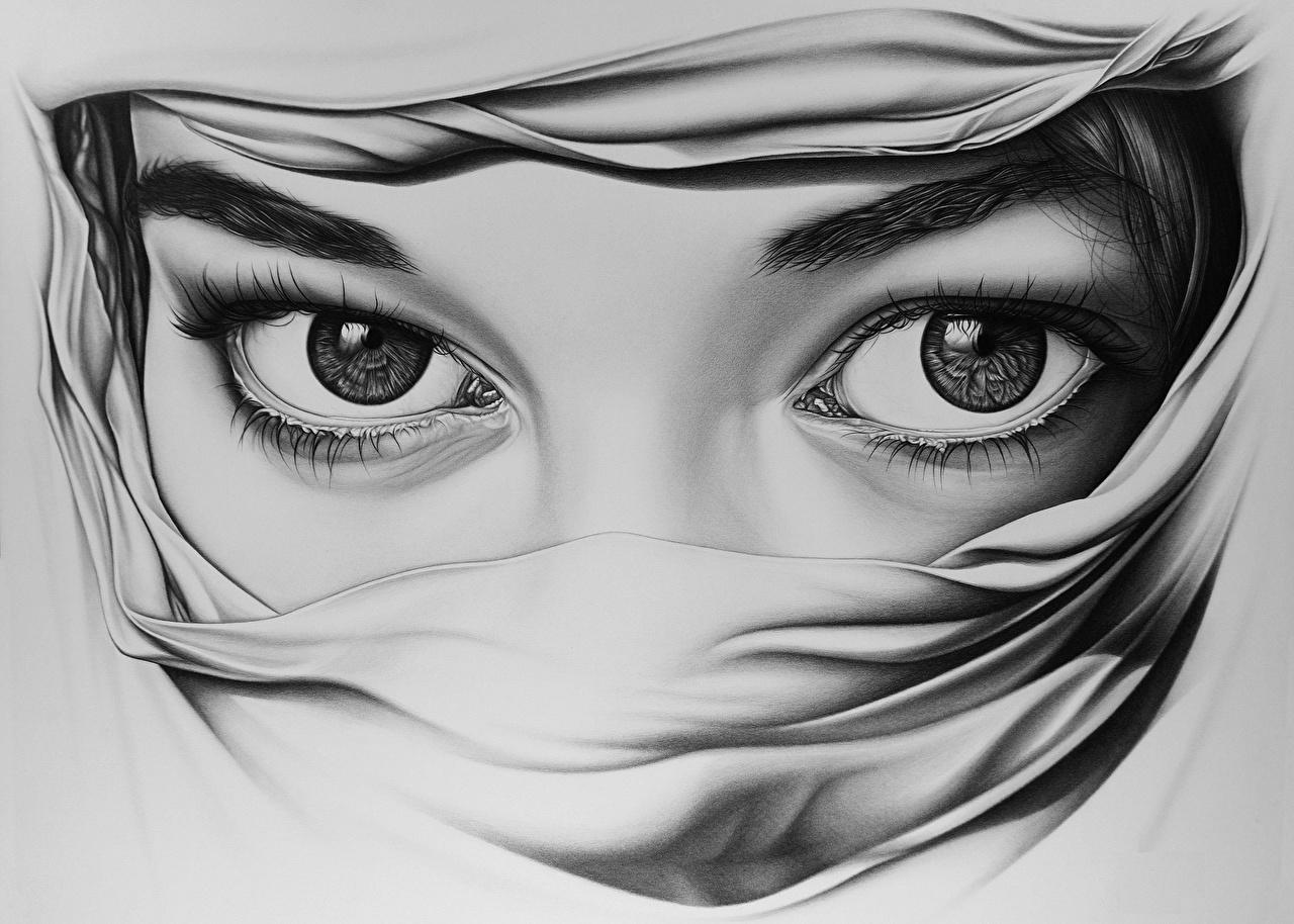 Обои Глаза вблизи Рисованные Крупным планом