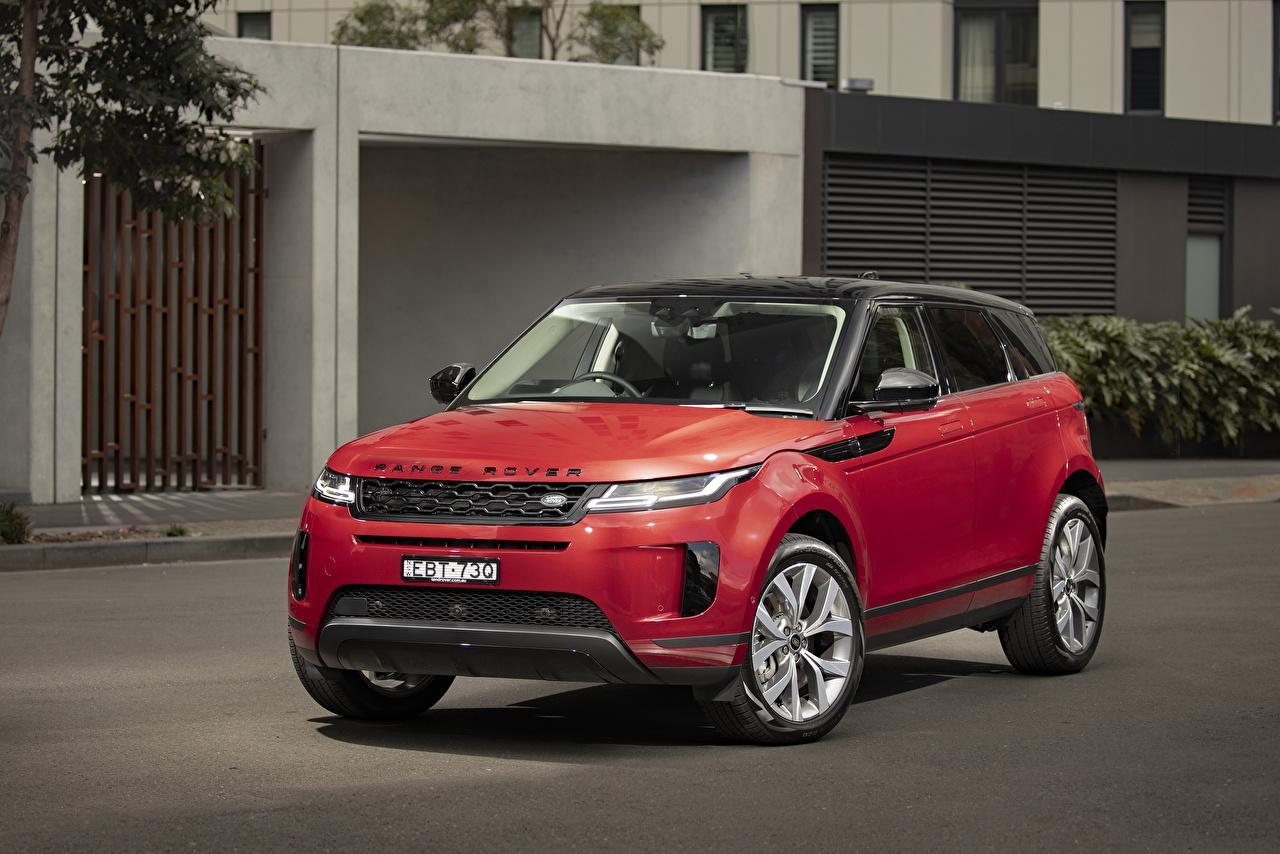 Картинка Range Rover CUV 2019-20 Evoque D240 SE красная авто Land Rover Кроссовер Красный красные красных машина машины Автомобили автомобиль