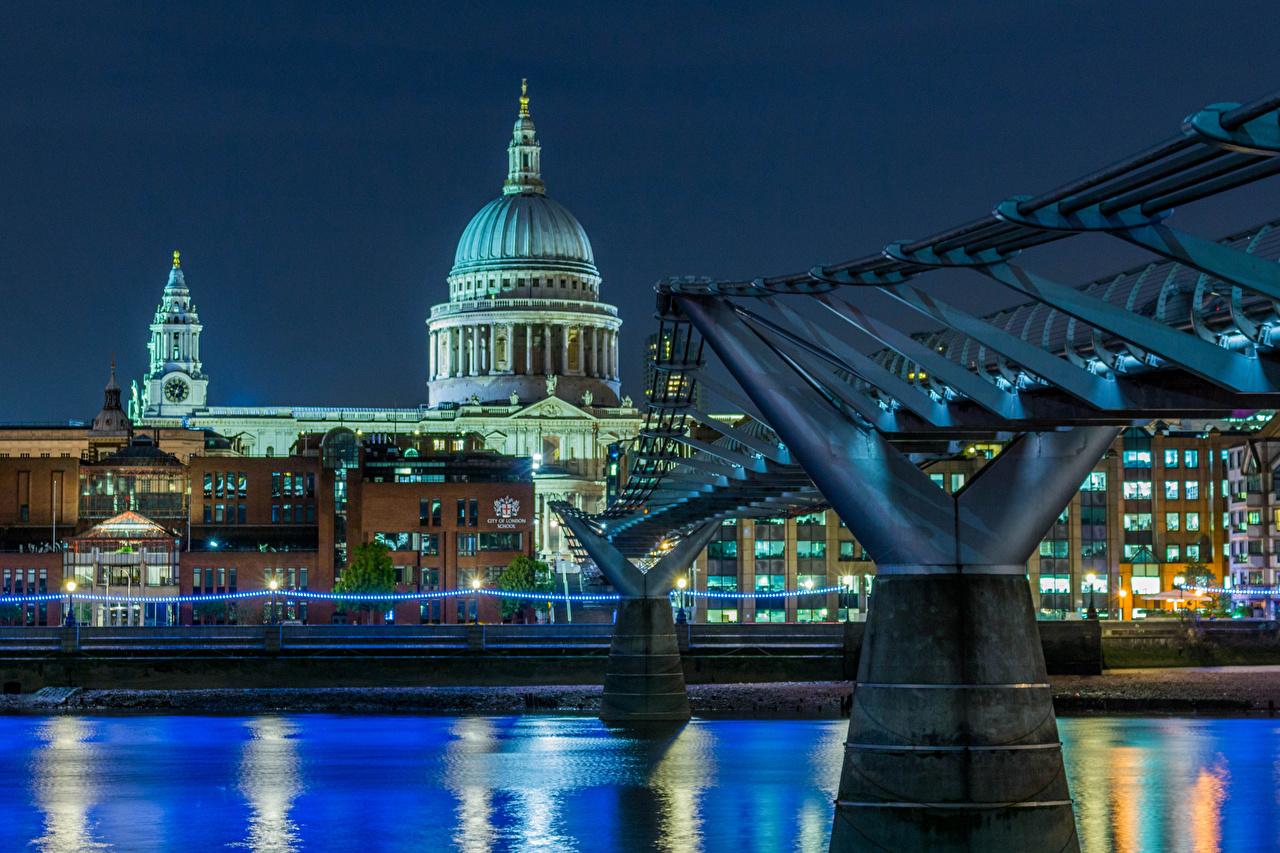 Обои Лондон Церковь Англия St Pauls Cathedral Мосты Храмы Вечер Гирлянда Города Здания Электрическая гирлянда Дома