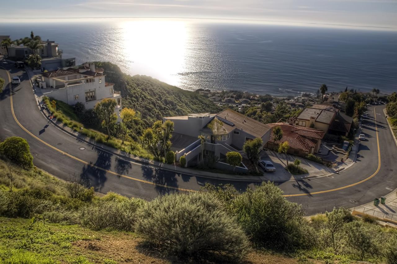 Картинки США Laguna Beach HDR Море Дороги Побережье Дома город штаты америка HDRI берег Здания Города