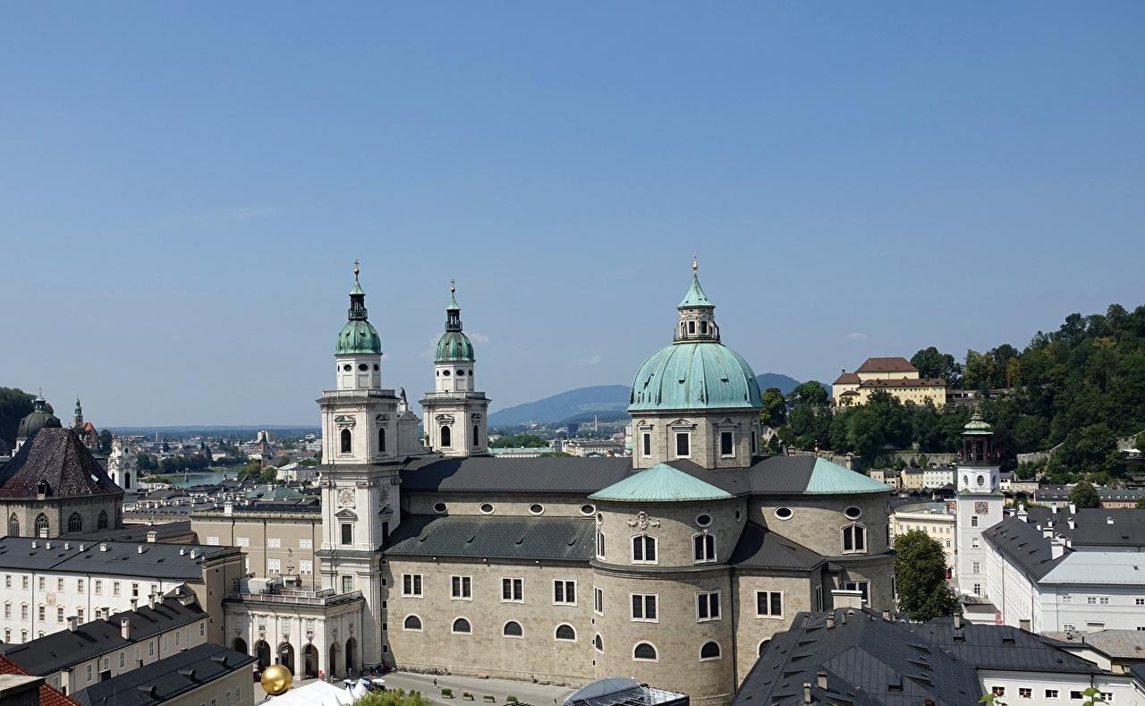 Фото Церковь Зальцбург Австрия Salzburger Dom Купол Города купола город