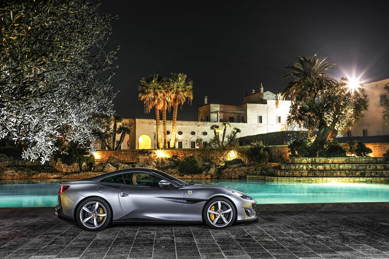Картинки Феррари 2018 Portofino Серый Сбоку Автомобили Ferrari серые серая авто машина машины автомобиль