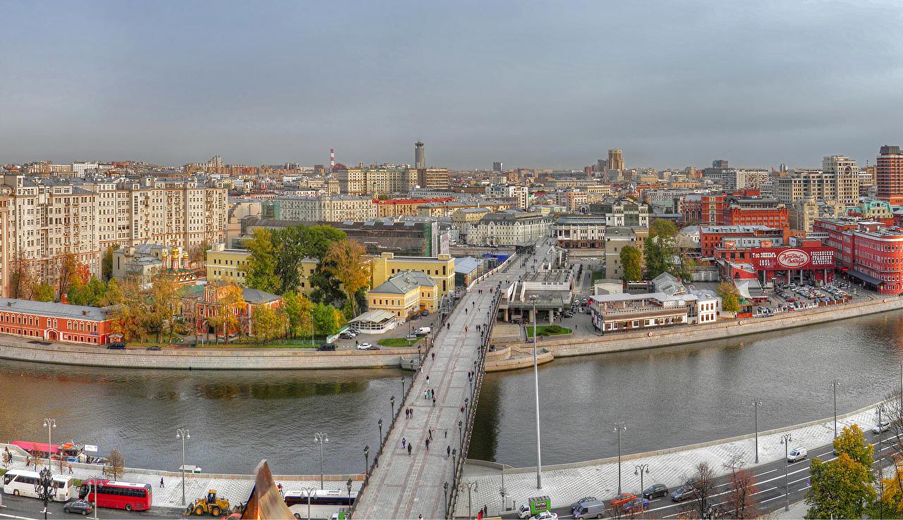 Фото Москва Россия Мосты речка Дома Города река Реки город Здания