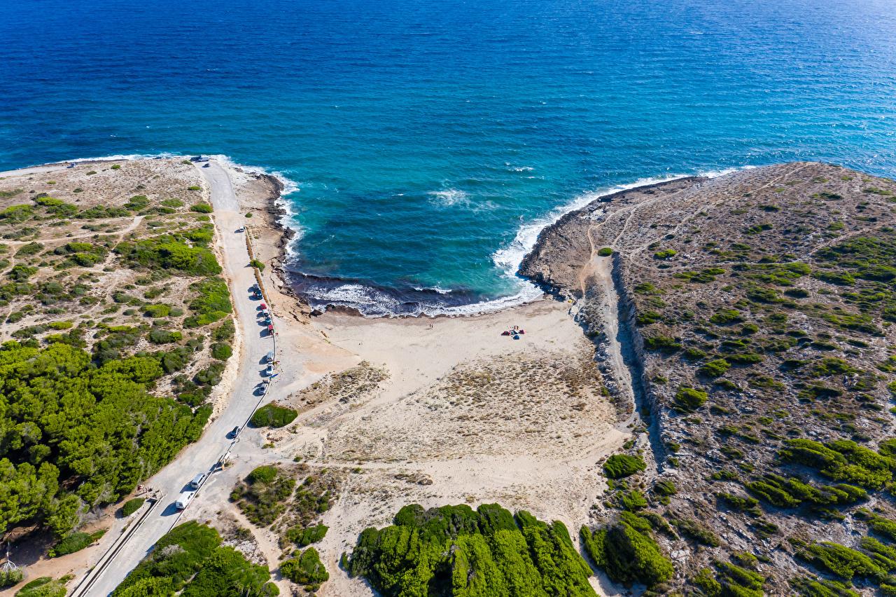 Фотография Мальорка Майорка Испания Arta Природа Волны Дороги Сверху Побережье берег