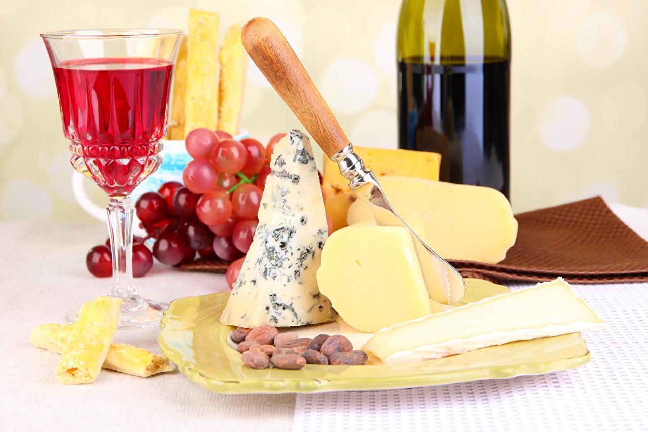 Обои Вино Сыры Виноград Бокалы Продукты питания Орехи Натюрморт Еда Пища