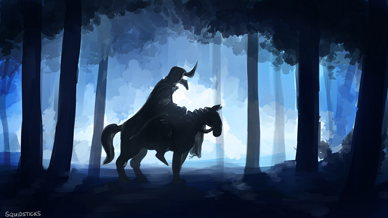 Обои для рабочего стола DOTA 2 Абаддон лошадь Нечисть Воители Силуэт Фэнтези компьютерная игра Abaddon Лошади Нежить воин воины силуэты силуэта Фантастика Игры