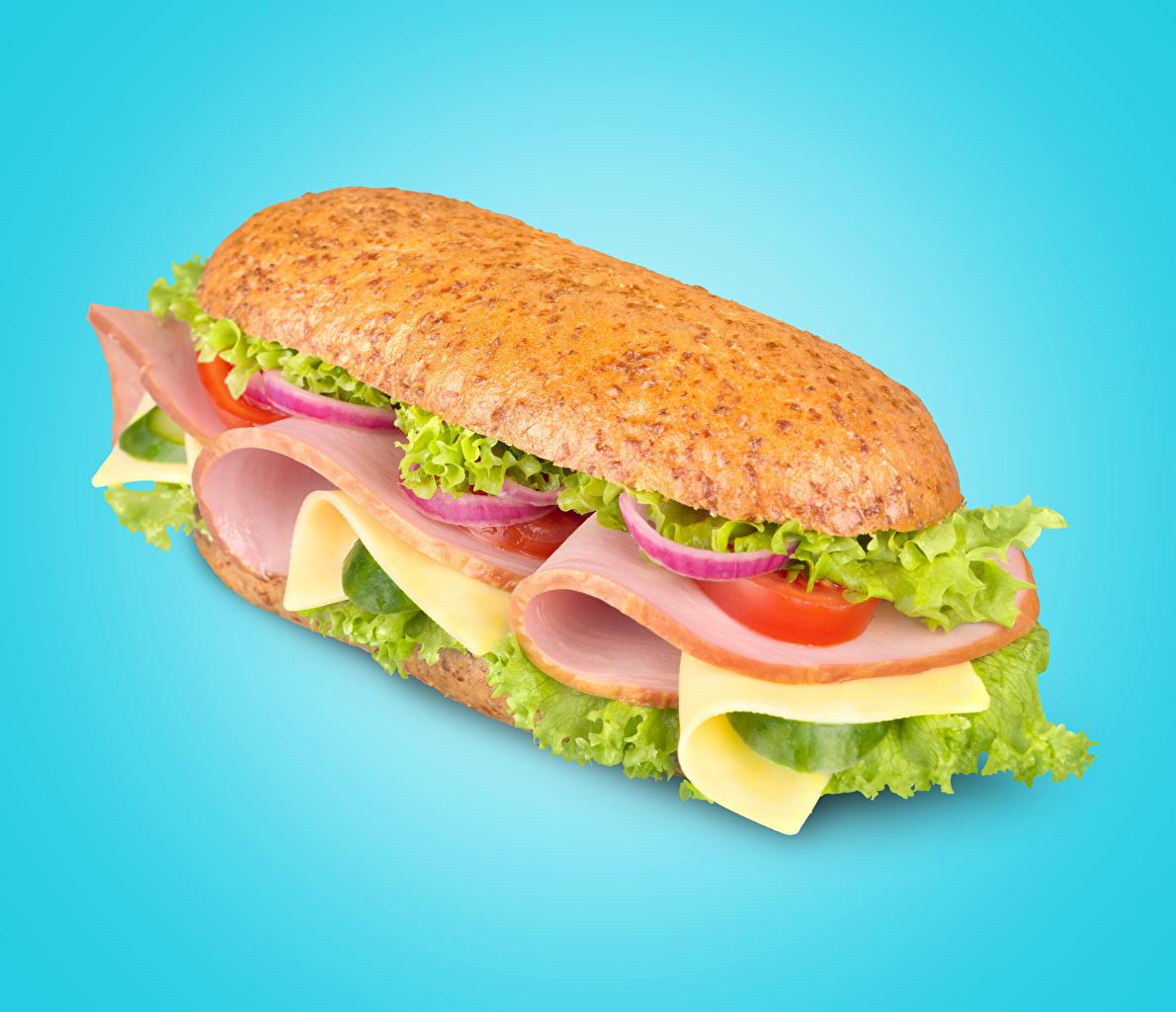 Фотография Сэндвич Колбаса Фастфуд Пища Овощи Цветной фон Быстрое питание Еда Продукты питания