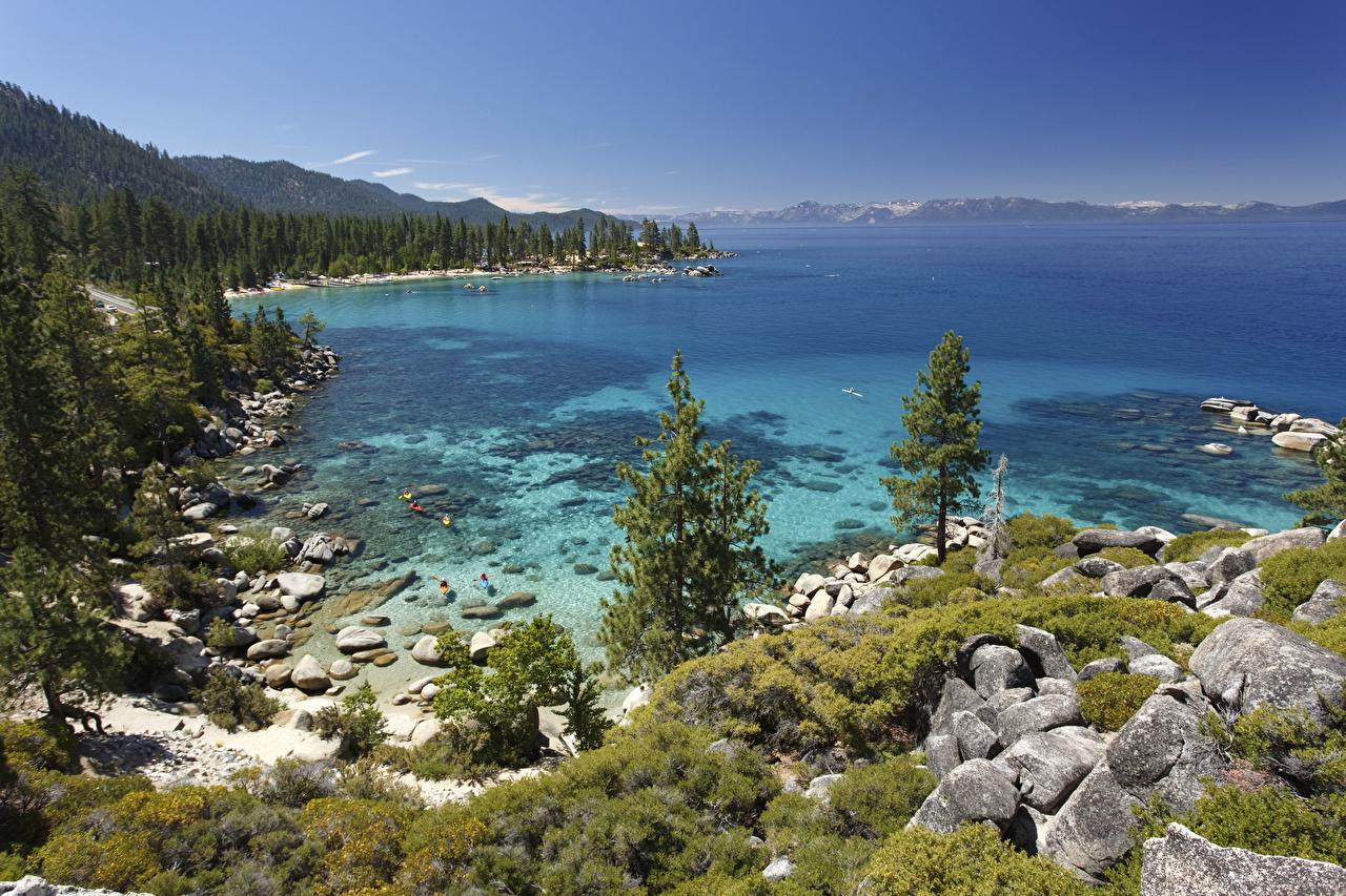 Обои для рабочего стола америка Tahoe Lake Природа Озеро Камень США штаты Камни
