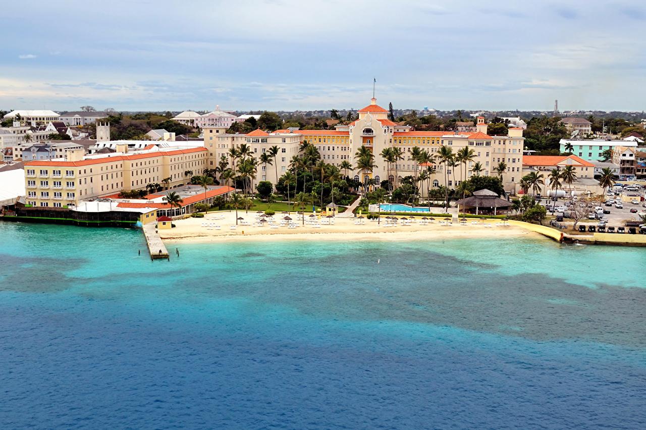 Картинки Курорты Bahamas Пирсы Побережье Города Здания берег Причалы Пристань Дома