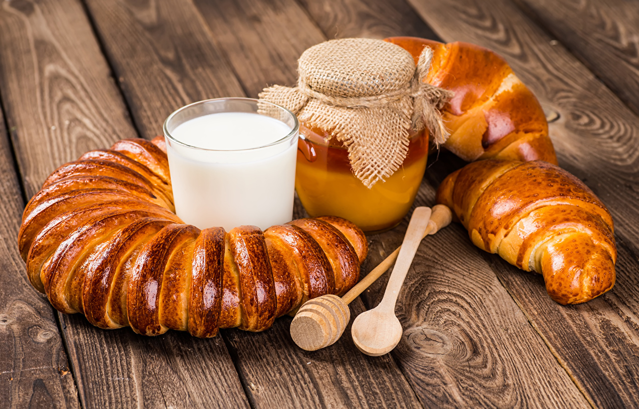 Фотографии Молоко Мед Банка стакана Продукты питания Выпечка Доски банке банки Стакан стакане Еда Пища
