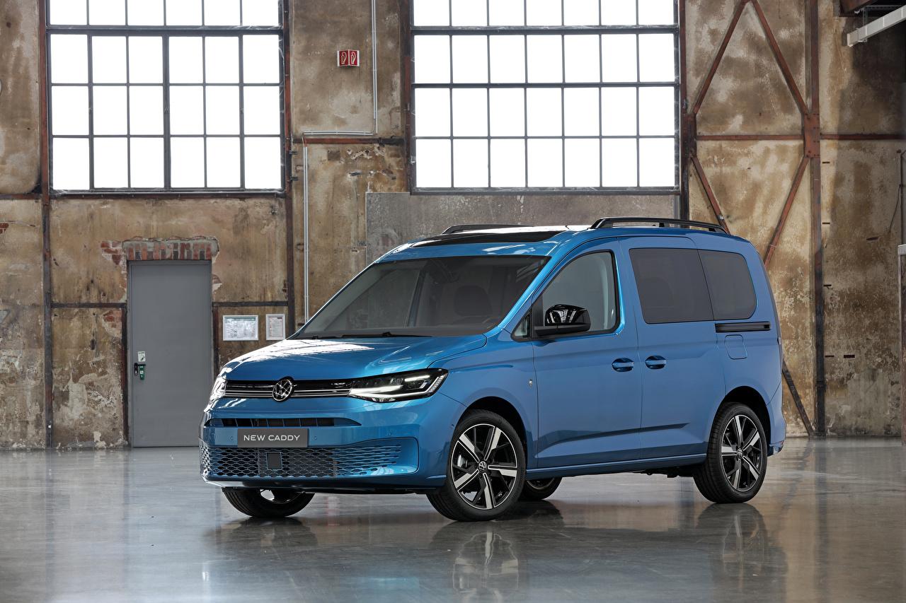Фото Фольксваген 2020 Caddy Life Worldwide Голубой Автомобили Volkswagen голубая голубые голубых авто машины машина автомобиль