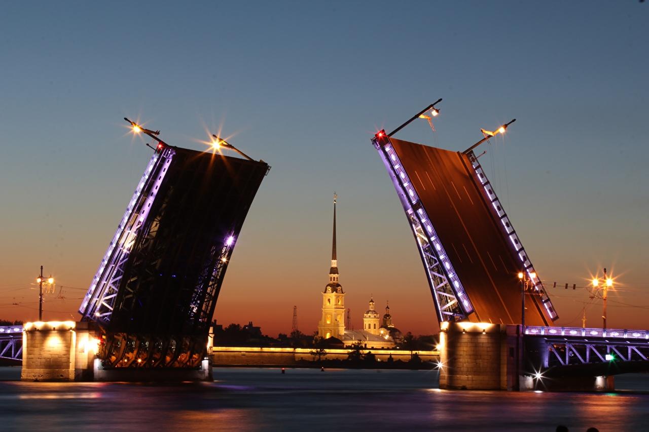 Фото Санкт-Петербург Россия Neva Мосты Реки Вечер город река речка Города