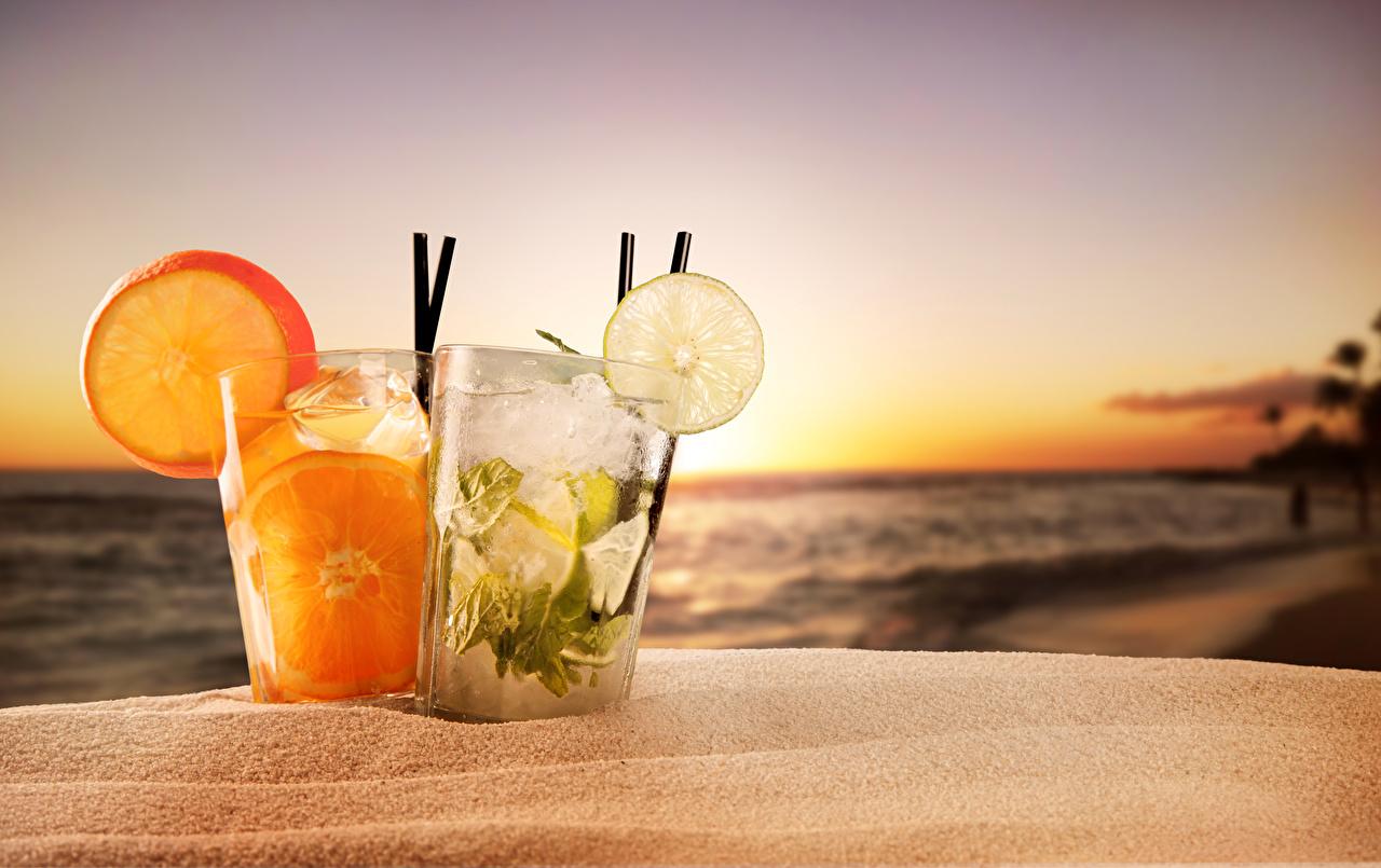 Фотография вдвоем Стакан Рассветы и закаты Продукты питания Цитрусовые Напитки 2 Двое Еда Пища