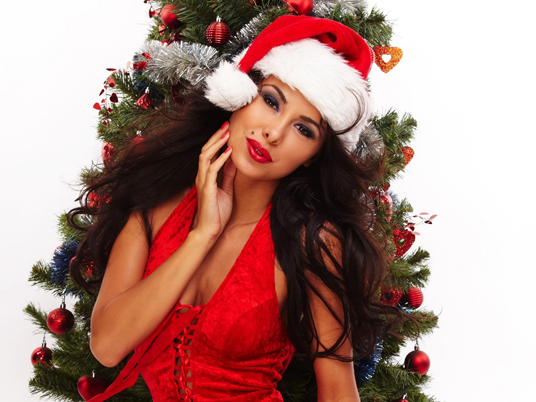 Фото Брюнетка Новый год Шапки девушка Новогодняя ёлка смотрит Праздники белом фоне брюнеток брюнетки Рождество Елка шапка в шапке Девушки молодые женщины молодая женщина Взгляд смотрят Белый фон белым фоном