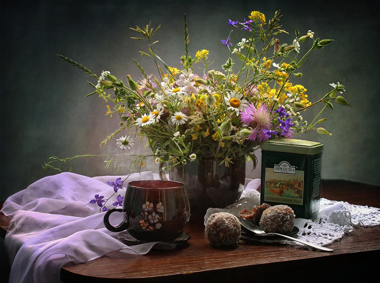 Обои Чай Цветы Ромашки Пища чашке Сладости Еда Чашка Продукты питания