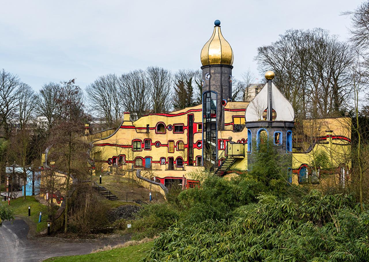 Обои Германия Essen Grugapark Парки Дома Города Дизайн Здания