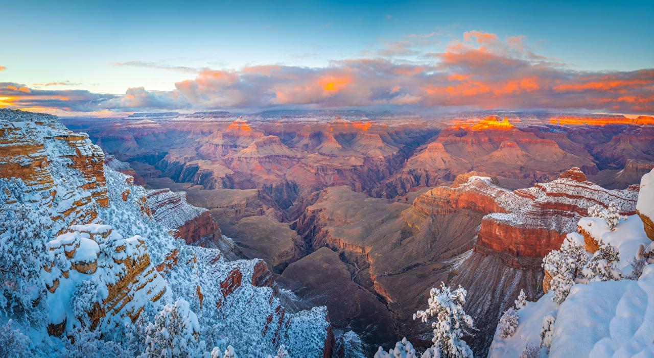 Фото Гранд-Каньон парк америка Arizona Скала Каньон Природа парк Снег Пейзаж облачно США штаты Утес скале скалы каньона каньоны Парки снега снегу снеге Облака облако