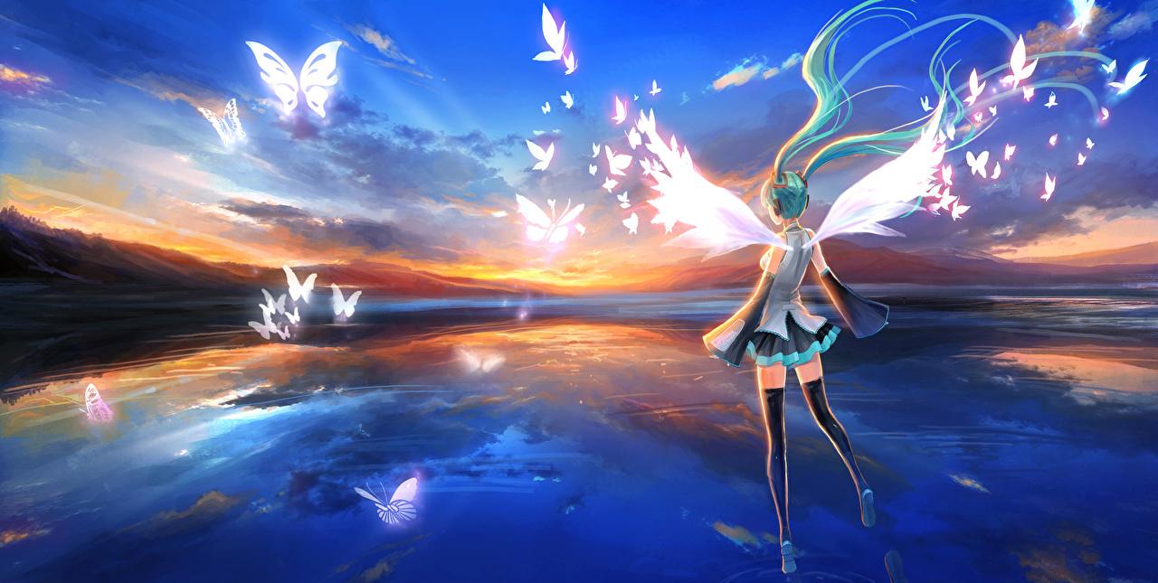 Картинка Вокалоид Hatsune Miku бабочка Аниме молодые женщины ангел Vocaloid Мику Хацунэ Бабочки девушка Девушки молодая женщина Ангелы