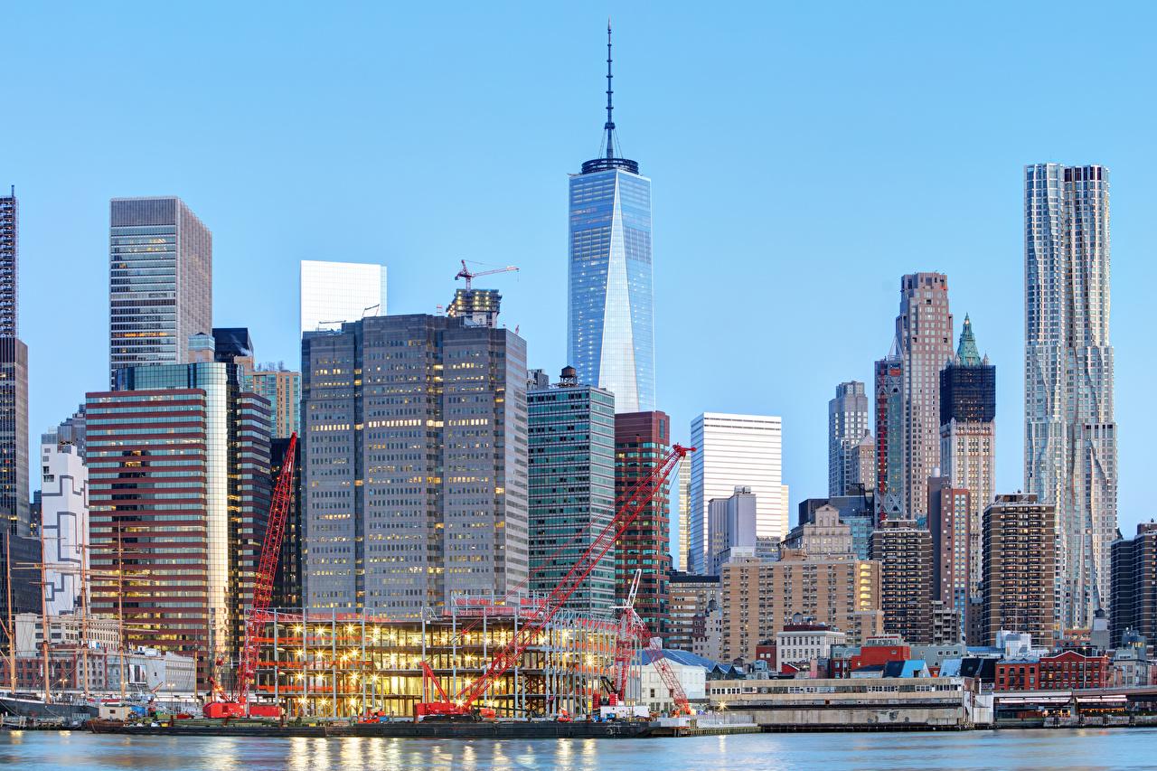 Картинка Нью-Йорк штаты Причалы Небоскребы Дома Города США америка Пирсы Пристань город Здания