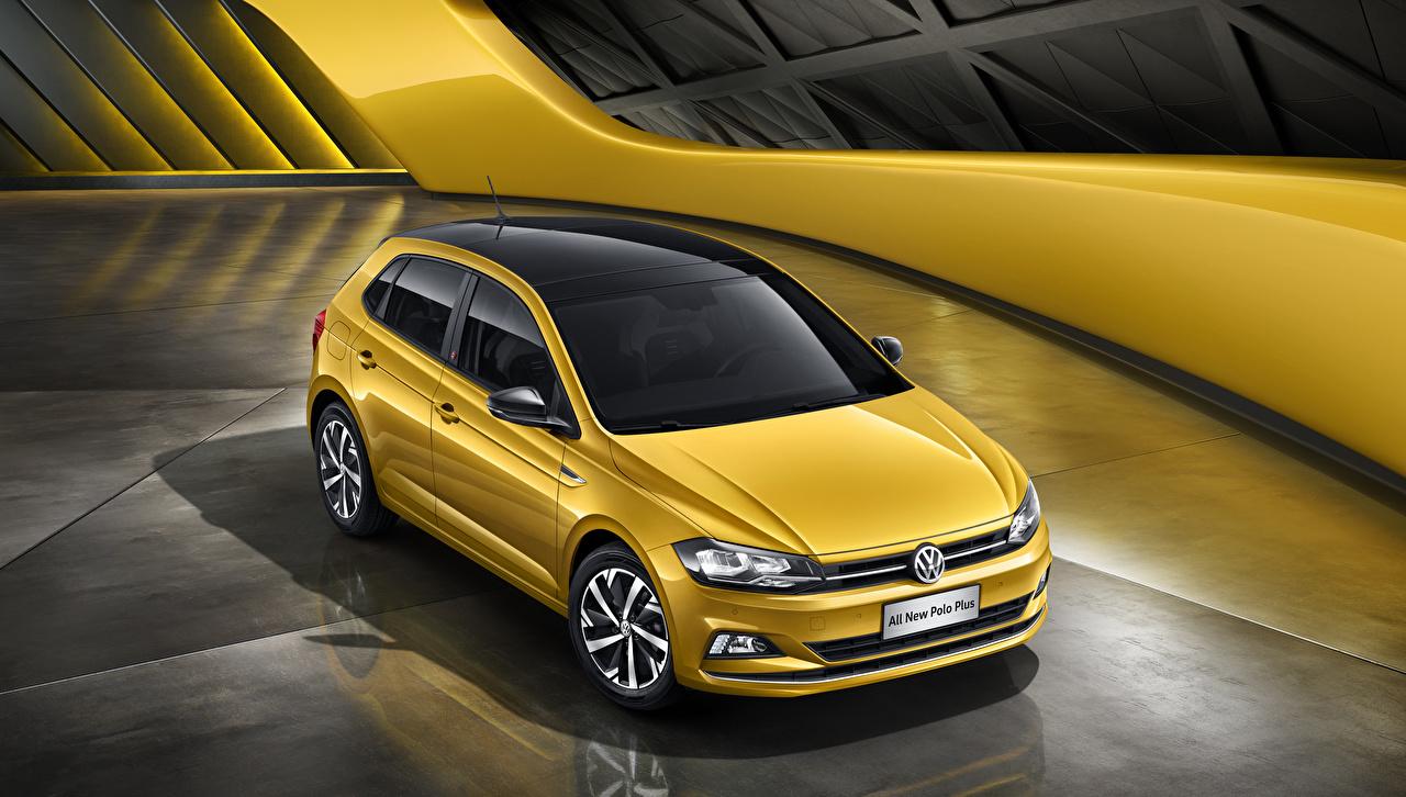 Фотография Фольксваген 2019 Polo Plus желтые авто Volkswagen желтых Желтый желтая машина машины автомобиль Автомобили
