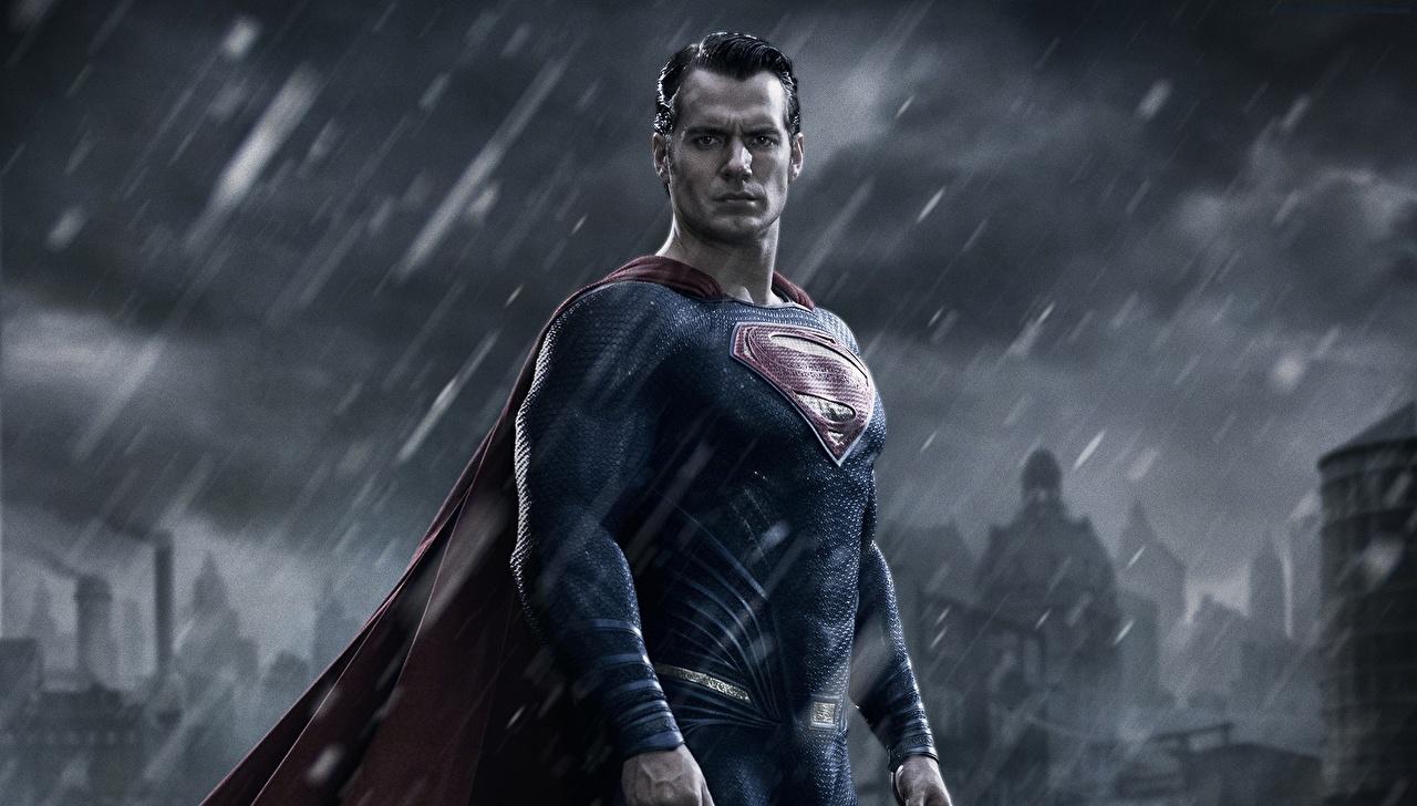Картинка Бэтмен против Супермена: На заре справедливости Henry Cavill Супермен герой Мужчины кино Дождь Знаменитости Генри Кавилл Фильмы
