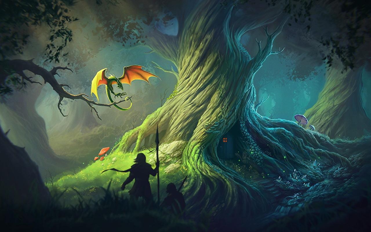 Обои Копья Драконы воины Фантастика Деревья Воители Фэнтези