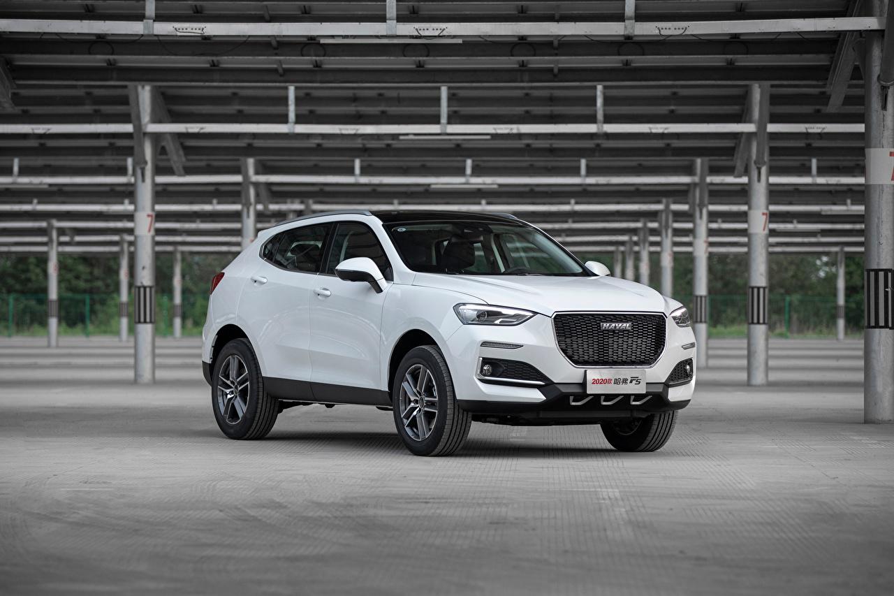 Картинки Haval китайская CUV F5, 2018 Белый авто Металлик китайский Китайские Кроссовер белая белые белых машина машины Автомобили автомобиль