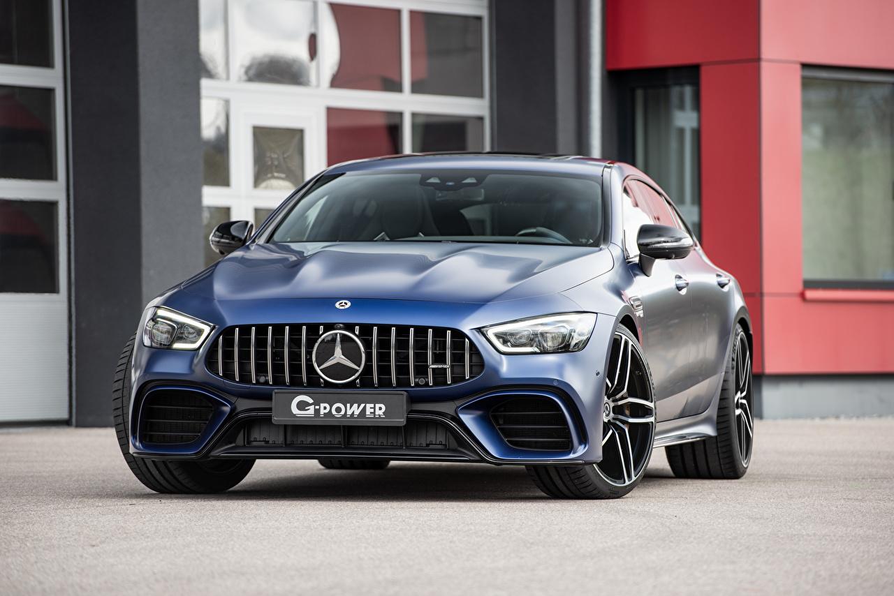Фото Мерседес бенц G-Power, GP 63 Bi-Turbo, X290 Синий Спереди Металлик автомобиль Mercedes-Benz синяя синие синих авто машины машина Автомобили