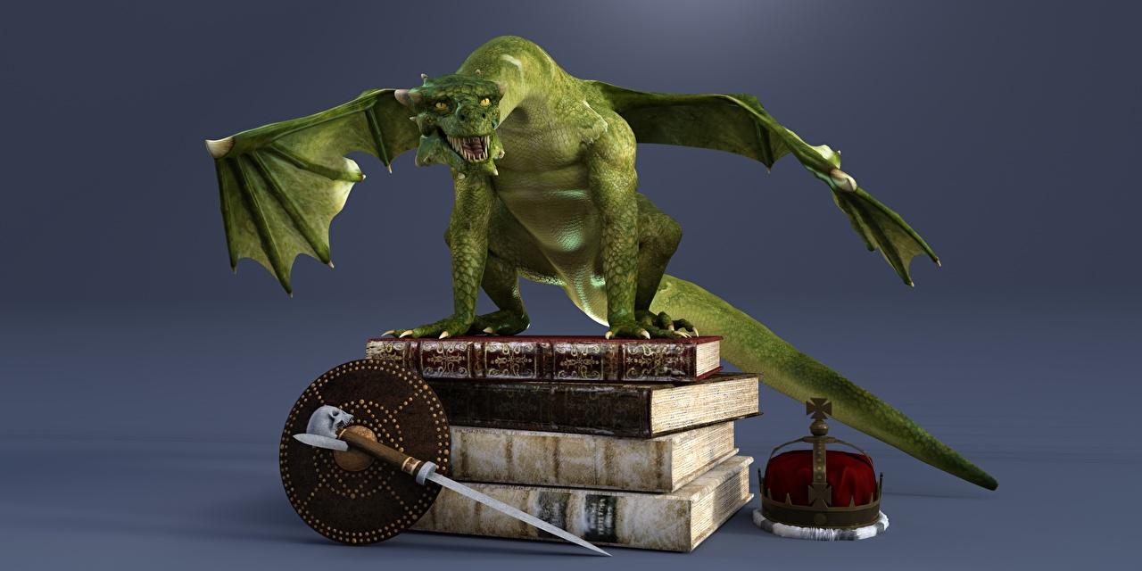 Фотографии Драконы Корона 3D Графика книги дракон 3д Книга