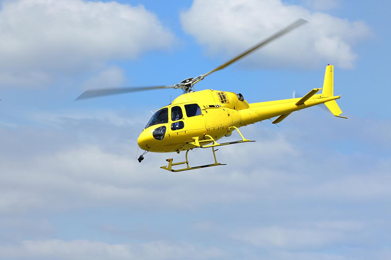 Фотографии Вертолеты Желтый Авиация