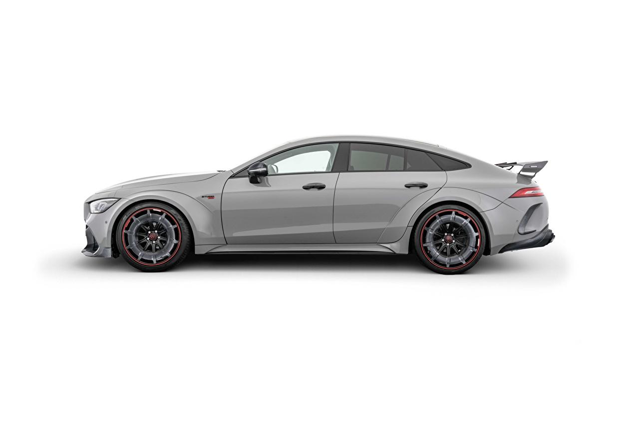 Картинки Mercedes-Benz Brabus Rocket 900, AMG GT 63 S, 2020 серая Сбоку машины белом фоне Мерседес бенц Брабус Серый серые авто машина Автомобили автомобиль Белый фон белым фоном