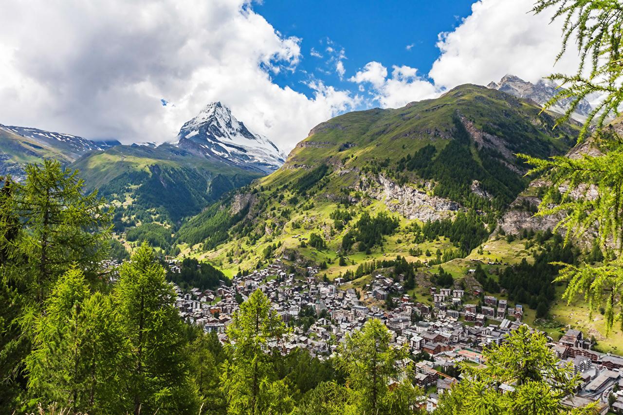 Картинка Альпы Швейцария Zermatt Горы Природа Здания альп гора Дома