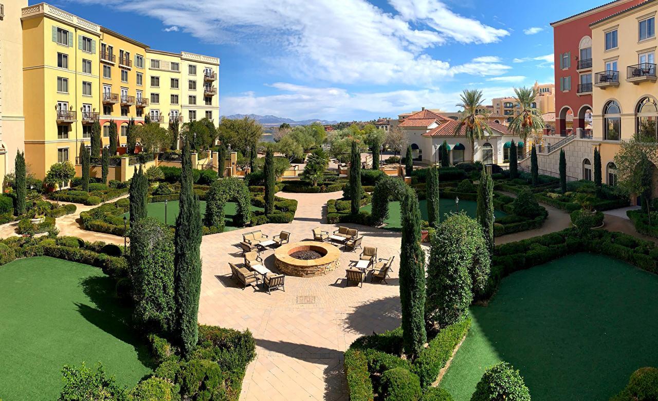 Фотографии Невада США Hilton Lake Las Vegas Resort гостиницы город Здания Ландшафтный дизайн штаты америка Отель отеля Гостиница Дома Города