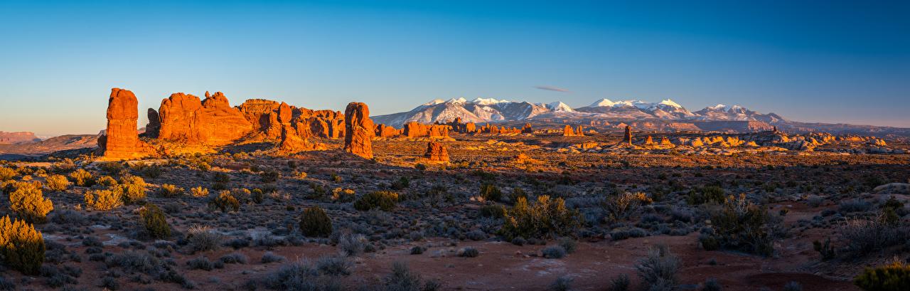 Фото штаты Панорама Arches National Park, Utah скалы Природа Парки Пейзаж США америка панорамная Утес скале Скала парк